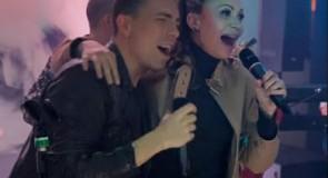 Solange Almeida e Di Ferrero cantam sucesso no karaokê do Faustão