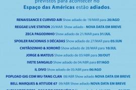 ESPAÇO DAS AMÉRICAS: Comunicado Important